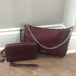 Coach Burgundy Crossbody Shoulder Bag Wallet